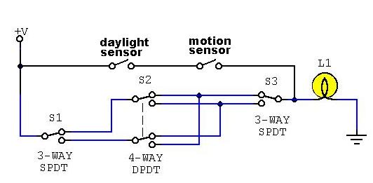 4 Way Light With Motion Detector? Electronics Forum Circuits