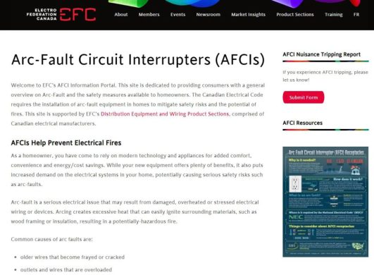 Arc-Fault Circuit Interrupters: EFC Launches New Online