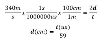 Ecuación para calcular la distancia, hc-sr04