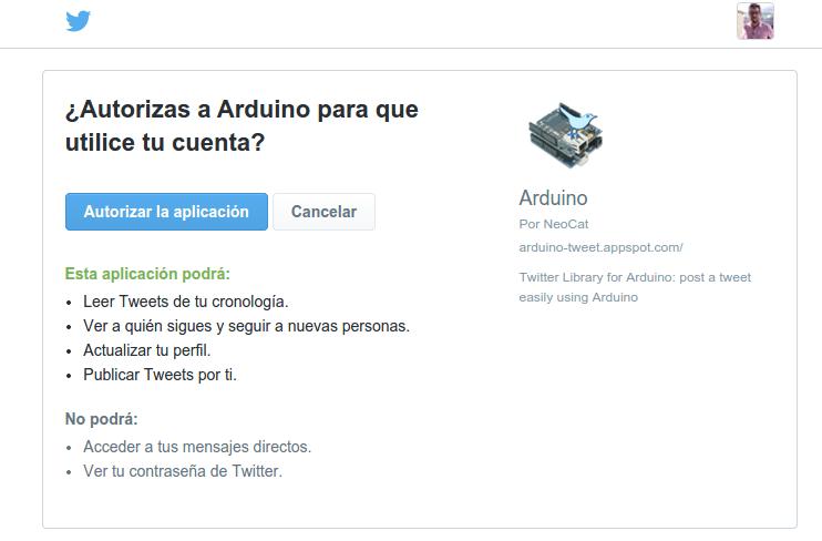 obtener token arduino twitter