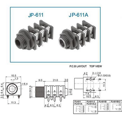 Buy 6.3mm jack chassis/PCB stereo switching JP-611 at the