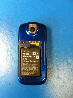 reverse side, battery cover removed
