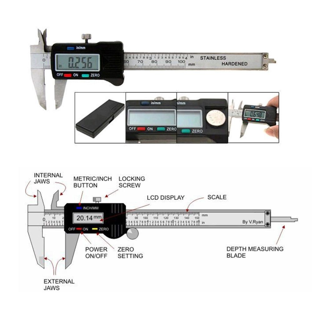 medium resolution of lcd electronic digital gauge stainless vernier caliper 150mm 6 inch micrometer