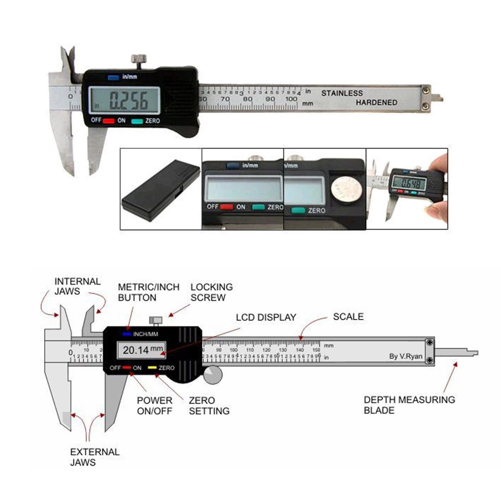 hight resolution of lcd electronic digital gauge stainless vernier caliper 150mm 6 inch micrometer