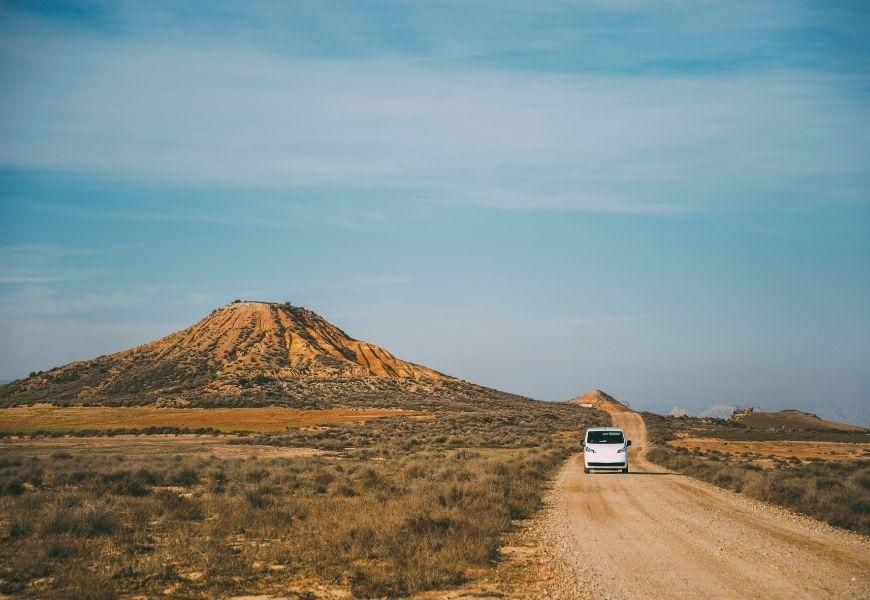 driving across desert