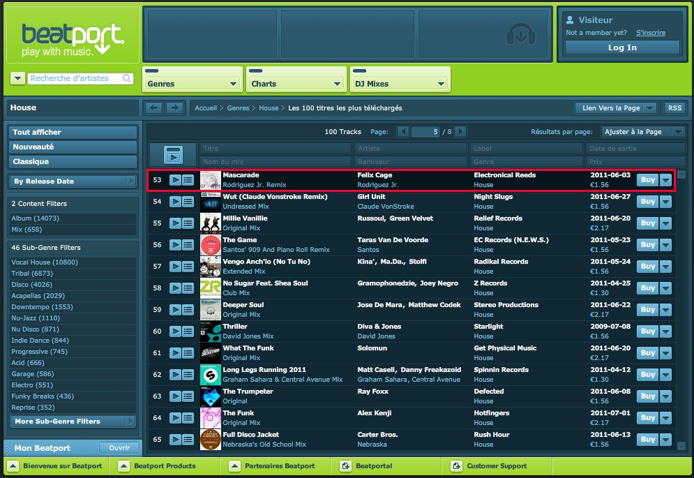 20110707 - 53rd Position in House Top 100 on Beatport