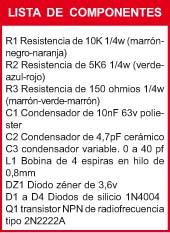 GENERADOR TRANSMISOR TELEFONICO componentes