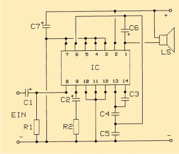 amplificador baja frecuencia circuito
