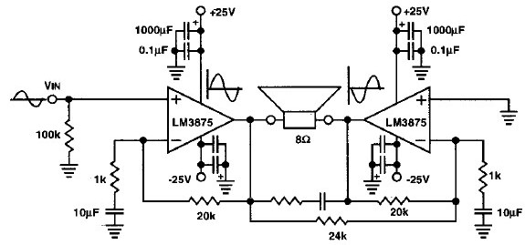 LM3875 80W audio amplifier circuit electronic project design