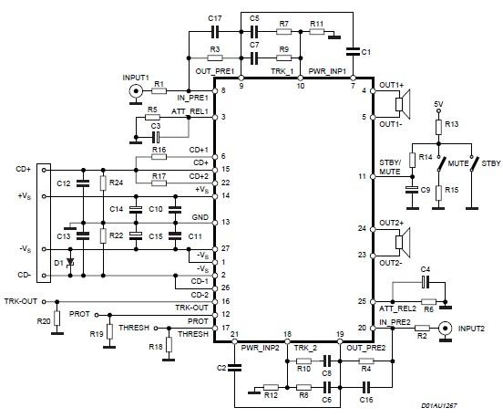 200 watt power audio amplifier circuit using STA575
