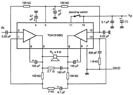 TDA1515 audio power amplifier circuit diagram