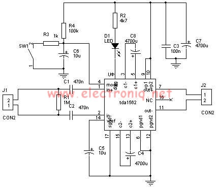 TDA1562 power amplifier circuit design electronic project