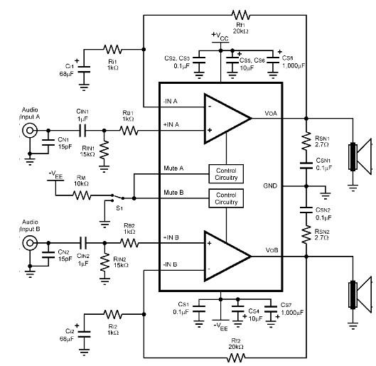 LM4780 120 watt amplifier circuit diagram electronic project