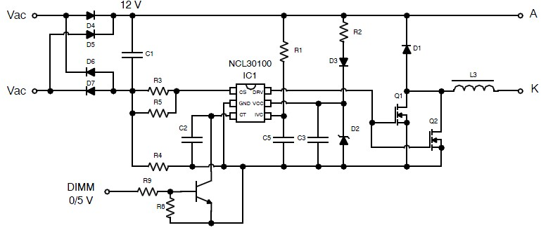 Constant current high−brightness LED driver using NCL30010