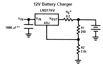 LM317 12 volt battery charger electronic circuit design