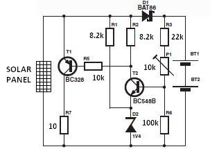 Solar charger circuit diagram electronic project using