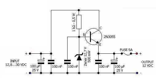 12 volts voltage regulator car adapter electronic circuit