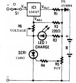 Battery charger using LM317 regulator circuit