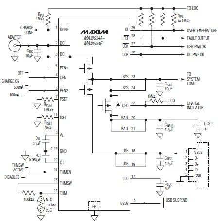LiIon battery char­ger circuit diagram using MAX8934