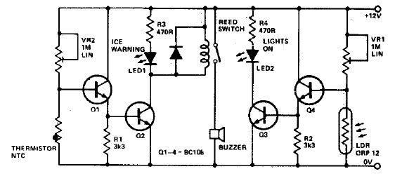 Ice warning and lights reminder circuit diagram project