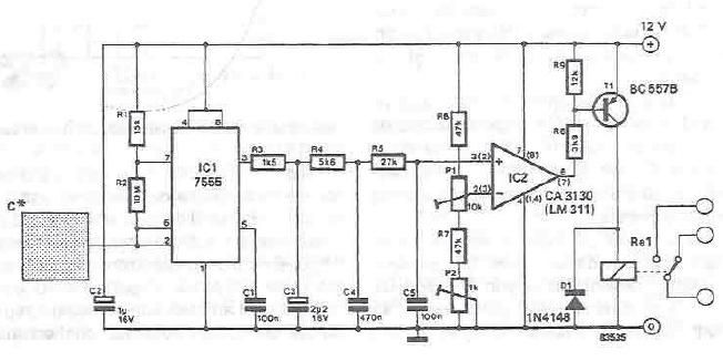 Capacitive touch sensor using 555 timer circuit