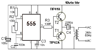 12V power inverter circuit using 555 timer