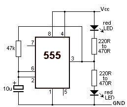 555 timer Led Flasher circuit electronic project