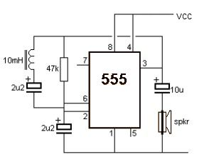 Metal detector circuit with 555 timer