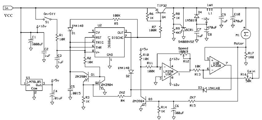DC motor speed controller with 555 timer