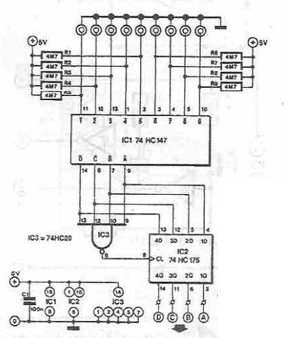 9 channels sensor switch circuit using 74HC147 CMOS IC