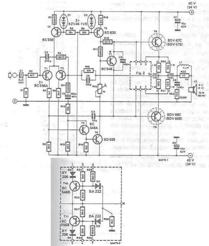 70-90 watt power amplifier circuit using transistors
