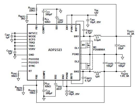 ADP2323 high current DC DC converter circuit design