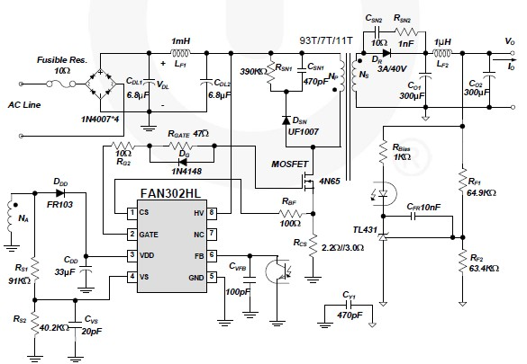 FAN302HL 5 volt switching power supply circuit design