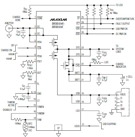 LiIon battery charger circuit diagram using MAX8934