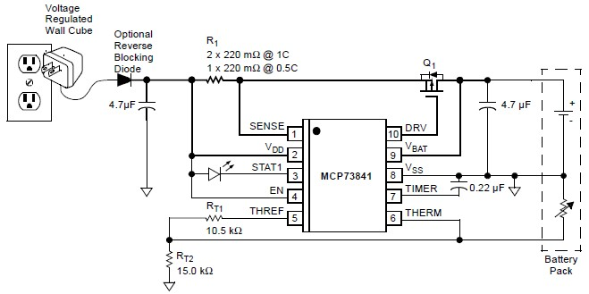 MCP73841 lithium ion lithium polymer chargher schematic