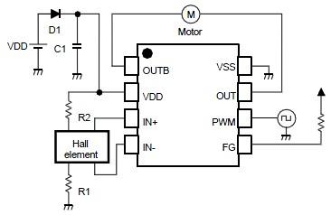 NJU7365 single phase dc brushless motor driver circuit design