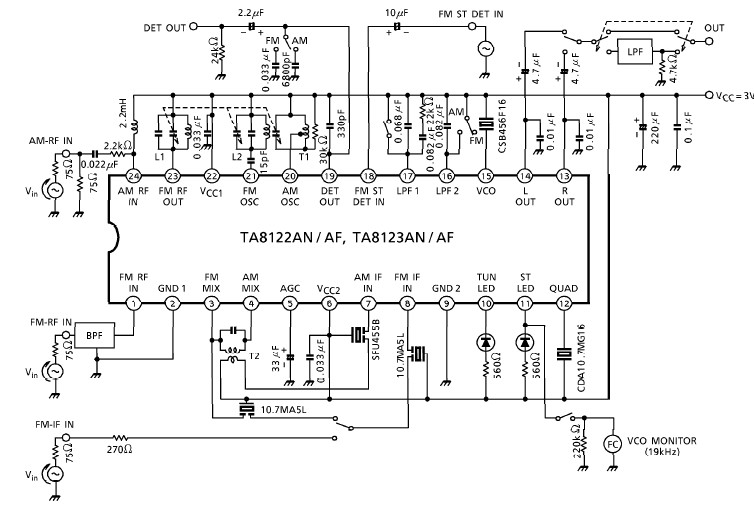 AM FM radio receiver circuit using TA8122 integrated ic
