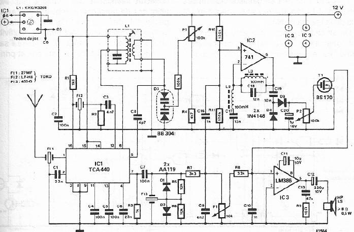 FM CB radio receiver circuit design using TCA440
