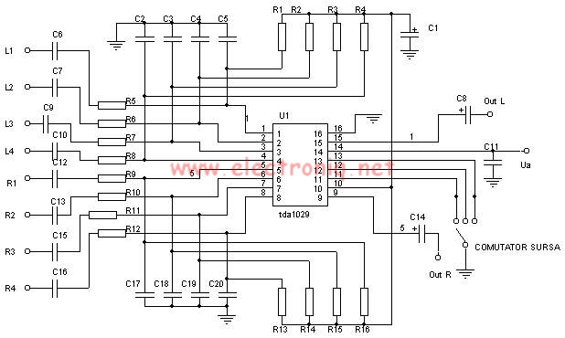 TDA1029 audio signal source switch circuit diagram