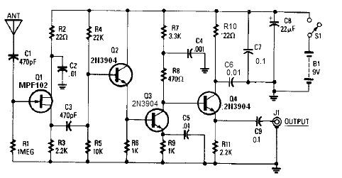 14-20dB active antenna circuit design electronic project