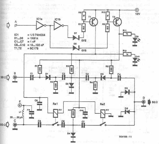 Antenna selector circuit diagram electronic project