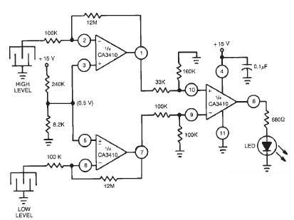 Dual level liquid sensor circuit design using CA3410 op amp