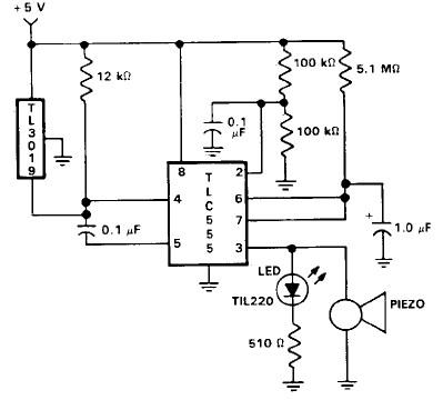 Door open alarm using 555 timer circuit