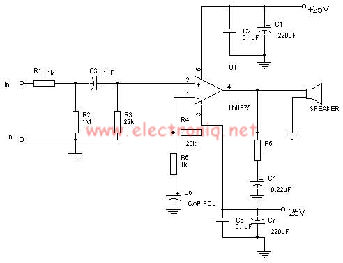 LM1875 30 watts power audio amplifier electronic project