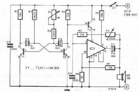 Electronic siren circuit using LM389 IC