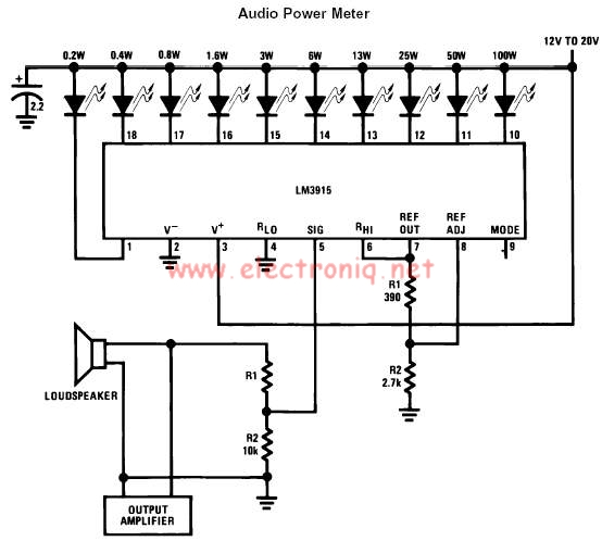 LM3915 audio power level meter circuit design electronic