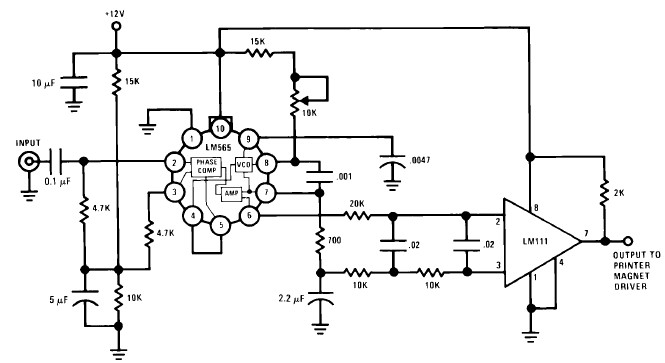 LM565 FSK demodulator circuit design electronic project
