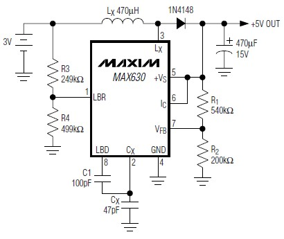 MAX630 3 to 5 volt converter electronic project