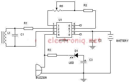 Metal detector schematic circuit using CS209A