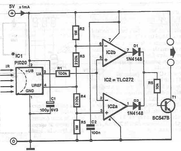 Infrared detector circuit using PID20